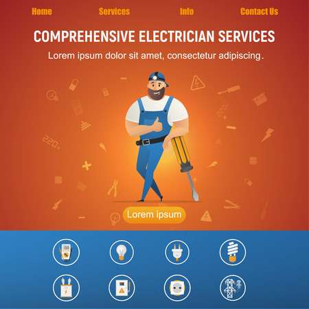 Electrical Service Smiling Handyman with Equipment. Male Character. Workman in Uniform and Cap, Leaning on Big Screwdriver and Showing Thumbs Up Sign. Flat Cartoon Vector Illustration