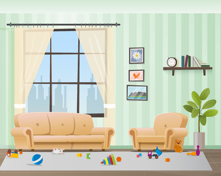 Children Scattered Toys in Messy Empty Living Room. Baby made Chaos in Home Interior. Playful Kid Untidy Disorder Hause Space. Muddy Indoor Design. Flat Cartoon Vector Illustration 向量圖像