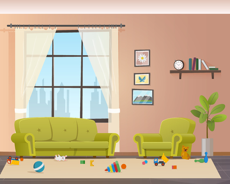 Baby Scattered Toys on Floor. Messy Living Room. Child Mess Space in Home Indoor Interior. Untidy House. Disorder Naugty Children Apartment Design. Flat Cartoon Vector Illustration  イラスト・ベクター素材