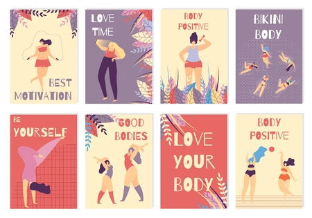Colored Card Set with Positive Body Woman Best Motivation Love Time Yourself Figure Be Active Concept Vector Inspirational Lettering Illustration with Floral Design and Beautiful Plus Size Girls