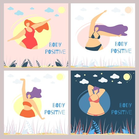 Set of Body Positive Motivational Woman Flat Card Template Plus Size Women in Bikini Isolated Posing Elegant in Rounds under Natural Landscape Vector Cartoon Doodle Illustration Modern Social Concept