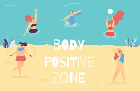 Body Positive Zone Lettering Banner Motivational Woman Text Vector Illustration Swimming and Relaxing Doing Yoga Exercises Jumping Rope Playing Ball Happy Plus Size Girls in Swimsuit Promo Template Ilustración de vector
