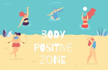 Body Positive Zone Schriftzug Banner Motivational Woman Text Vector Illustration Schwimmen und Entspannen Yoga-Übungen Seilspringen Ball spielen Happy Plus Size Girls in Swimsuit Promo Template Vektorgrafik