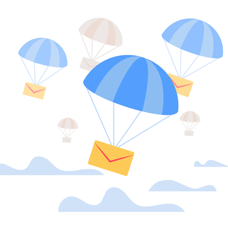 Air Mail Delivery. Yellow Closed Paper Envelope Falling Down with Blue Parachute in Sky with Clouds. Transportation Shipping Package, Express Postal Service, Letter Postal Flat Vector Illustration