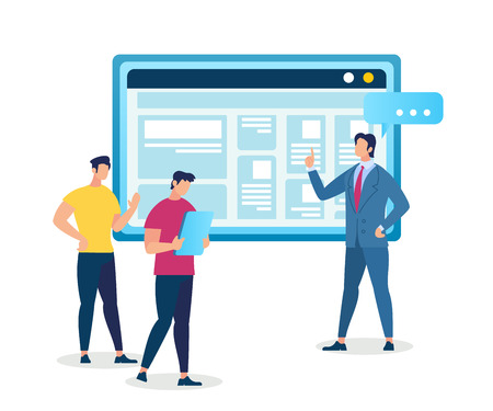 Master Class in Professional Growth. Personal Development in Career and Business Training, Coach Man and Two Male Students Stand at Huge Monitor with Information. Cartoon Flat Vector Illustration.