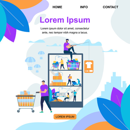Square Banner with Copy Space. People Characters Buying Things in Virtual Store. Online Shopping. Express Delivery Service Ship Goods to Consumers. Internet Commerce, Cartoon Flat Vector Illustration