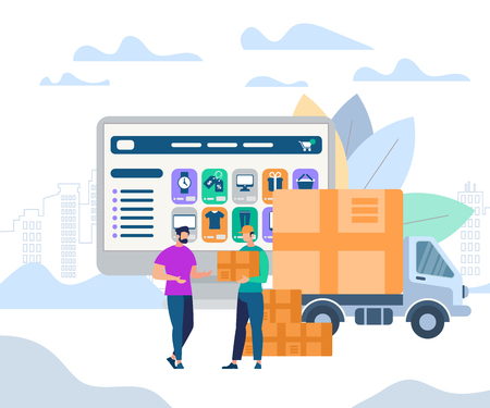 Fast Delivery Service. Man Worker Giving Parcel Box to Happy Young Guy Recipient Stand on Huge Monitor with Online Shopping Application at Screen Background. Van Car. Cartoon Flat Vector Illustration.