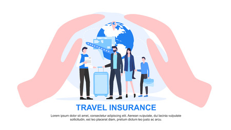 Agent with Paper Family Child with Luggage Cupped Hand Protect Vector Illustration. Travel Insurance Service Safe Vacation Tourist Protection Accident Support Passenger Care Airplane Trip Safety