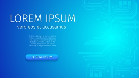 Digital Technology World. Abstract Futuristic Digital Blue Neon Background. Glowing Gradient Effect. Business Virtual Concept for Presentation. Vector Illustration. Horizontal Banner with Copy Space.