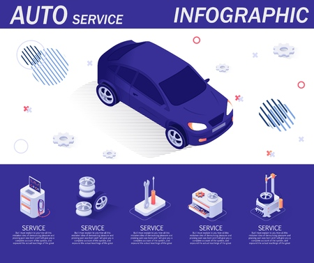 Autoservice Infographic with Isometric Icons. Diagnostics Equipment, Tools, Fitting Complex, Spare Parts. Banner with Isolated Car and Place for Description of Offering Service. Vector 3d Illustration