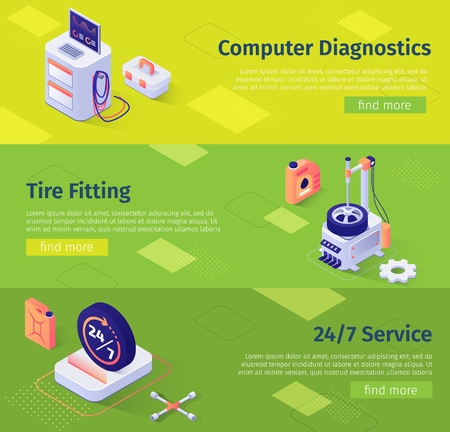 Set of Banners with Isometric Icons and Inscription Computer Diagnostics, Tire Fitting, 24 to7 Service. Equipment and Tools Advertisement for Automotive Repair Services. Vector 3d Illustration