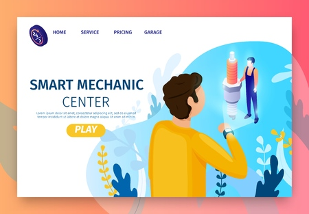 Landing Page for Modern Smart Mechanic Center. Client Stands Back Uses Smart-Watch for Online Consultation with Master. Professional Repair Shop with Fulltime Service. Vector 3d Isometric Illustration