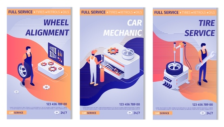 Set of Lettering Advertisements for Service. Posters with Auto Maintenance Operation Process and Masters at Work. Wheel Alignment, Car Mechanic, Tire Service Offers. Vector Isometric 3d Illustration