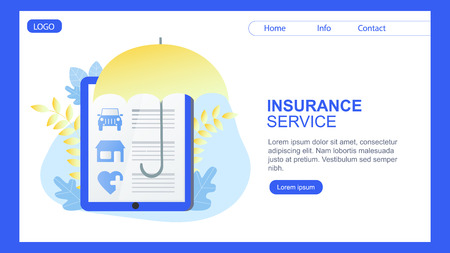 House Car Health Insurance Service Banner Umbrella Protection Vector Illustration. Contract Sign Policy Paper Financial Safety Agreement Family Protect Automobile Estate Heart Symbol