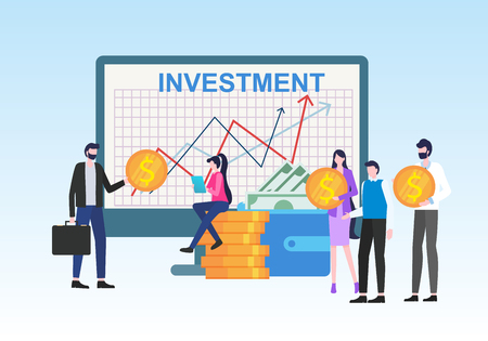 Money Investment Income Chart Growth People with Dollar Currency Symbol Coin Vector Illustration. Financial Savings Business Analysis Bank Deposit Sucess Earnings Finance Strategy Economy Ilustração