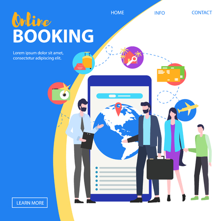 Travel Agent Man Woman Parent Child Mobile Phone Device Screen Vector Illustration. Online Hotel Booking Internet Apartment Reservation Service Travel Summer Vacation Trip Smartphone Application