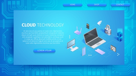 Cloud Technology Horizontal Banner with Copy Space. Computing Devices Connection to Media Server. Web Hosting for Gadgets, Migrate Data Between Storage Services. 3D Isometric Vector Illustration. Ilustração