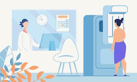Frau Ärztliche Untersuchung Mammogramm Fluorographie Flaches Banner Vektor Medizinische Radiologie Bildschirm Maschine Illustration Arzt Überprüfung Weibliche Patientin Brustdiagnose Screening Gesundheitswesen Medizin Vektorgrafik