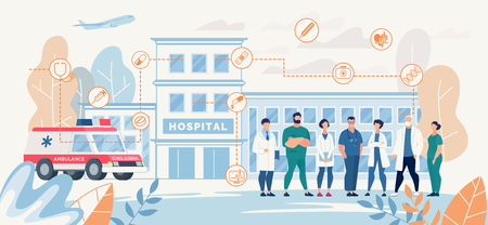 Professional Hospital Medical Staff Presentation Landing Page Vector Doctors Nurses Meeting Waiting Patients Standing front of Clinic Building Ambulance Car Illustration Medicine Healthcare Promotion