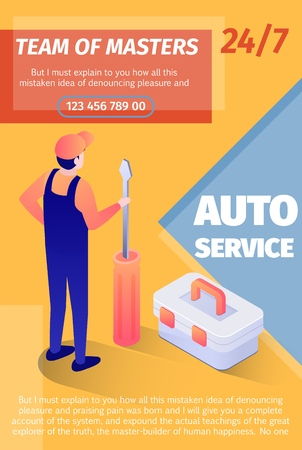 Print Poster Offers Team of Masters Fulltime Service. Vector Template with Place for Advertising Text and Editable Contact Information. Isometric Illustration of Master with Screwdriver Standing Back 일러스트
