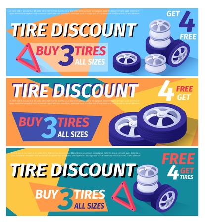 Set of Header Banner Offering Car Tire Discount. Vector 3d Illustration with Isometric Wheel, Rubber and Shining Disk on Color Backdrop. Print Digital Advertisement. Sale Offer from Workshop Illustration