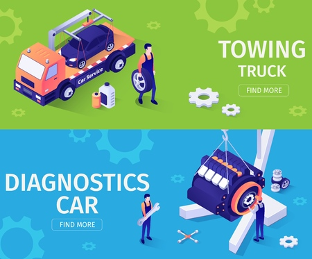 Set of Banners for Car Repair and Assistance Service. Vector 3d Isometric Illustration with Tow Truck Driving Car, Hanging on Crane Engine for Diagnostics. Team of Masters Check Motor, Replace Wheel  イラスト・ベクター素材