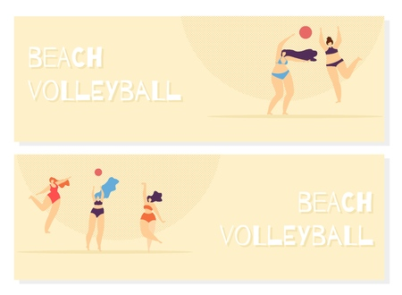 Beach Volleyball Lettering Flat Banner Set Body Positive Recreation Happy Summer Time Concept Vector Motivational Woman Illustration Invitation Template Plus Size Girl Playing Ball Sand Color Design Standard-Bild - 122803350