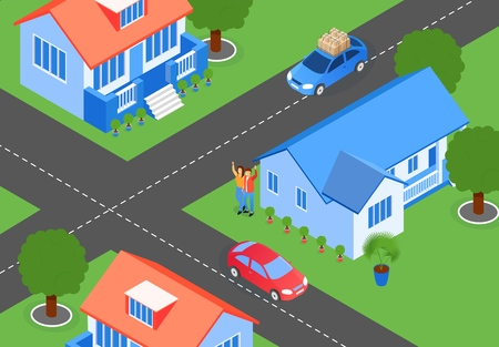 Vector Illustration City Streets Crossroads Flat. Projection Layout Residential Area with Projects Houses. Crossroads Four Roads in City. Married Couple Standing Near House and Welcomes People in Car. Ilustração