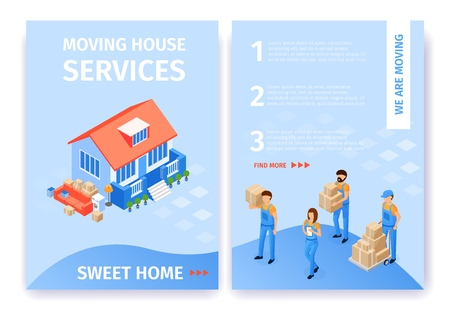 Set Moving House Services Sweet Home Flat Cartoon. Beside Beautiful House are Unloaded Boxes and Furniture. Uniformed Transportation Staff Carry Cardboard Boxes. Vector Illustration Landing Page.