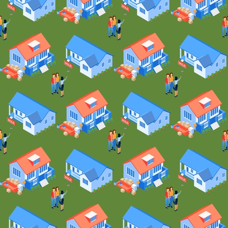 Seamless Pattern Illustration Property Selection Flat. Woman Shows Real Estate Young Married Couple. Husband and Wife Meet with Real Estate Agent. Moving to New Home. Flat Vector Isometric.