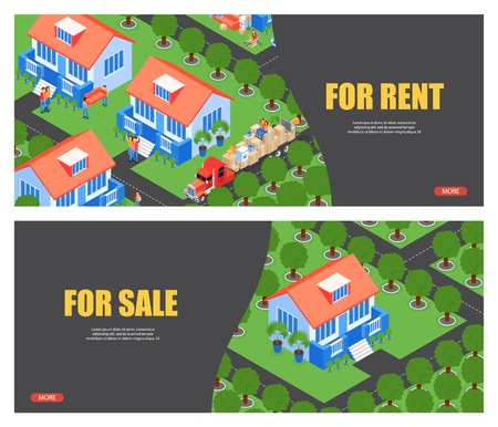 Isometric Illustration for Rent and For Sale. Flat Banner App for Finding and Choosing Rental Property or Selling Homes. Truck is Transporting Large Cargo. People Occupy New Residential Area in City. Standard-Bild - 122803380
