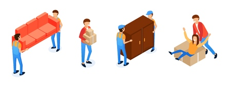 Assistance in Transporting Furniture Cartoon. High Quality, Timely Execution Work on Loading Things and Furniture. Employees Will Carry Cargo Various Sizes Without Damage. Vector Illustration.