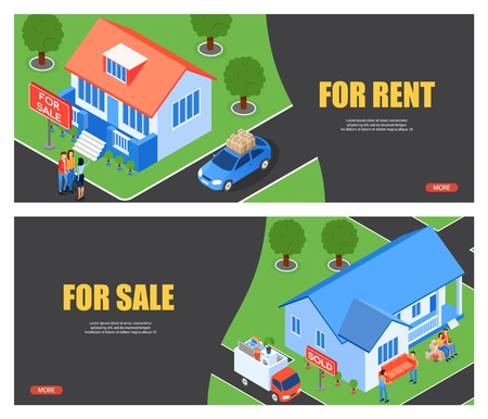 Vector Illustration for Rent and for Sale Flat. Inscription at Home Sold, Help  Reedter in Finding Client. Written Sold on Plate Near House. New Contract Renter. Transportation Furniture.