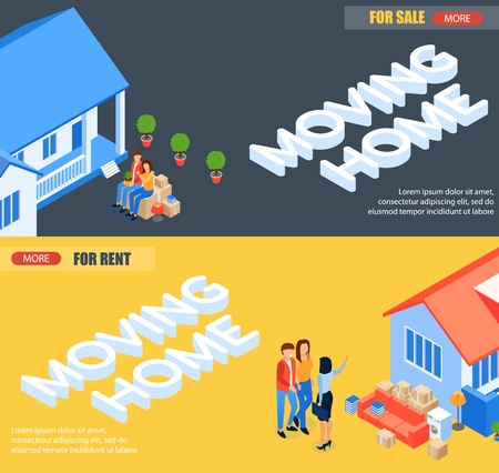 Set Banner Moving Home for Rent and for Sale. Husband and Wife are Sitting Folded Packaged Things and Waiting for Moving to New Home. Vector Illustration Landing Page. Offers an Object.