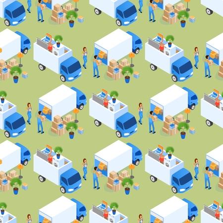 Caricamento di mobili in illustrazione vettoriale di camion. Scatole di cartone ben piegate e lampade. Pulizia di oggetti imballati, mobili assemblati con accordo. Modello senza cuciture piatto isometrico.
