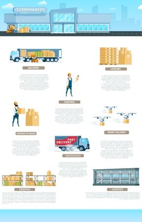 Budynek Magazynowy. Usługa Infografika transparent. Szybka dystrybucja w fabryce i element dostaw na całym świecie. Przechowywanie Sprzęt do dostawy ekspresowej i transport. Ilustracja wektorowa płaskie kreskówka Ilustracje wektorowe