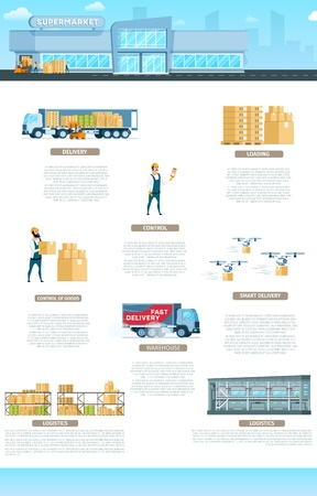 Edificio de almacén. Banner de infografía de servicio. Distribución rápida de fábrica y elemento de suministro mundial. Almacenamiento de equipos de entrega urgente y transporte. Ilustración de vector de dibujos animados plana Ilustración de vector