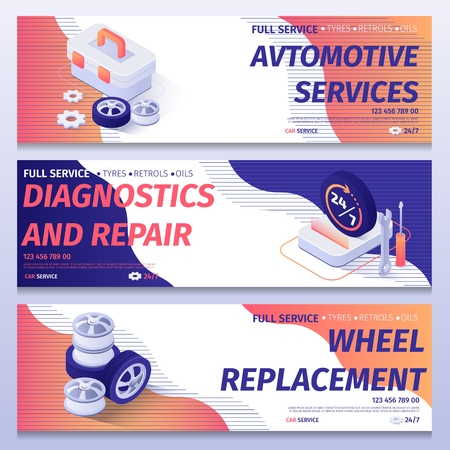 Set of Header Banners for Advertising Car Service. Illustrations Collection with Schedule Signboard, Tools for Repair Wheels, Spare Parts for Replacement and Contact Information. Vector Isometric 3d.