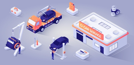 Car Service Building, Evacuator Stands near. Man Technician Characters Repairs Motor, other Master Replaces Wheels. Professional Auto Mechanics at Work. Isometric. Vector 3d Illustration.