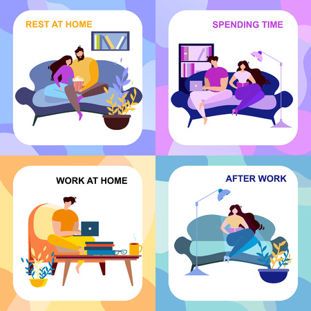 After Work, Rest at Home, Spending Time Banner Set. Cartoon People Indoors Rest and Read. Computer Freelance Work Vector Illustration. Couple Watch TV, Romantic Evening Family Entertainment  イラスト・ベクター素材