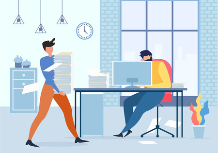 Cartoon Office Manager Holding Paper Stack, vermoeide Man op Computer tafel vectorillustratie. Mannelijke werknemer depressief, uitgeput hard werken, deadline stress, wanhopige werknemer, zakelijke problemen Vector Illustratie