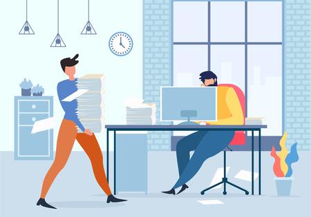 Gestionnaire de bureau de dessin animé tenant une pile de papier, homme fatigué à l'illustration vectorielle de la table d'ordinateur. Travailleur de sexe masculin déprimé, travail acharné épuisé, stress à l'échéance, employé désespéré, problèmes d'affaires Vecteurs