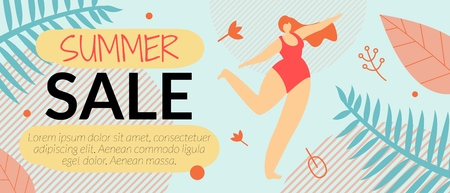 Advertising Flyer Summer Sale Vector Illustration. Cumulative Discount on Sale Goods for Women. Beautiful Woman in Swimsuit Rejoices and Dances. Hot Price and Offer. Layout Coupon Code.