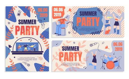 Invitation Flyer Summer Party Banner. Order Ticket to Party Online. Annual Musical Festival Event Summer. Man Plays Guitar, Beautiful Girls Dance and Have Fun. Vector Illustration Flat.
