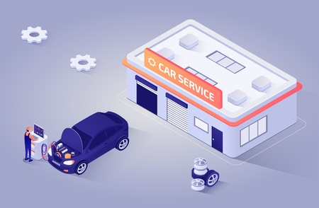 Professional Auto Mechanics Performs Electronic Diagnostics Using Special Digital Equipment. Advertisement for Modern Car Service, Repair Shop, Garage Station. Vector Isometric 3d Illustration.