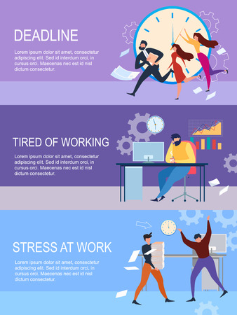 Deadline, Stress at Work, Tired of Working Cartoon People Banner Set Vector Illustration. Depressed Male Office Employee, Busy Businessman, Upset Man Worker, Paperwork Pile Paper Table, Woman Run