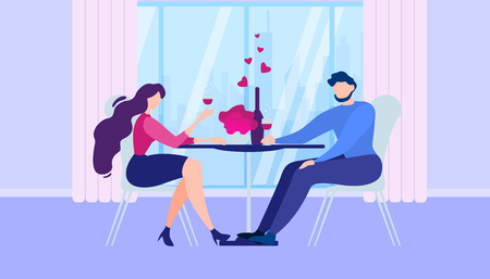 Romantic Dinner at Home. Cartoon Man Woman Kitchen Table near Window Drink Wine Vector Illustration. Boyfriend and Girlfriend Dating Indoors. Wife Husband Together Celebration Anniversary