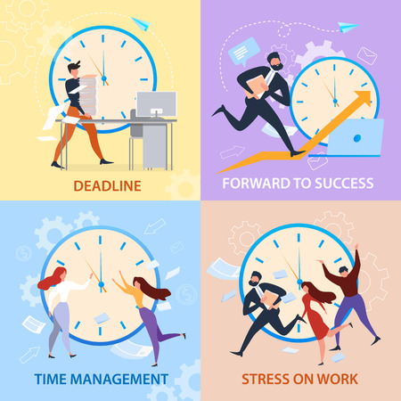 Adelante al éxito, gestión del tiempo, estrés en el trabajo, conjunto de banners de fecha límite. Gente de dibujos animados corre. Problema de trabajo, organización del horario. Estrategia ganadora, promoción profesional. Vector de papeleo de horas extraordinarias
