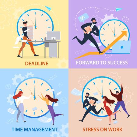 Vorwärts zum Erfolg, Zeitmanagement, Stress bei der Arbeit, Deadline-Banner-Set. Cartoon-Leute laufen. Arbeitsproblem, Organisation planen. Gewinnerstrategie, Karriereförderung. Überstunden-Papierkram-Vektor