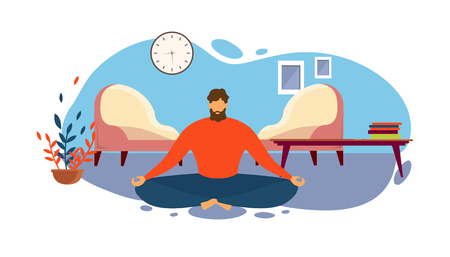 Man Meditate on Floor at Living Room Apartment in Lotus Position Vector Illustration. Home Morning Meditation Practice, Indoors Yoga Exercise, Peaceful Mind Relax, Mindfulness Mental Health